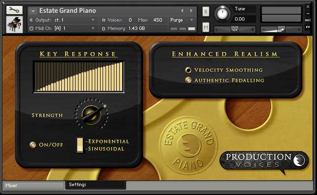 Estate Grand Piano Settings Page