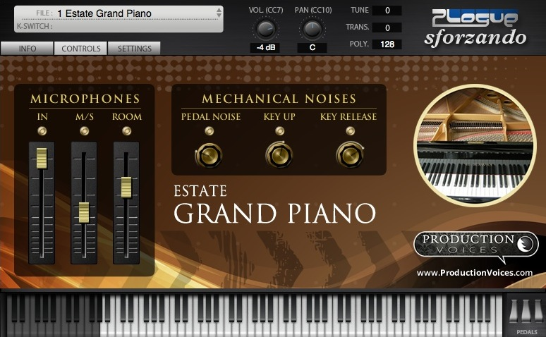 Estate Grand Piano Controls Page